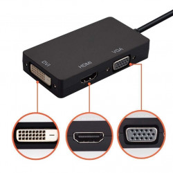Cavo Adattatore 3 in 1 DisplayPort a VGA/DVI/HDMI - Convertitore DP a VGA HDMI DVI