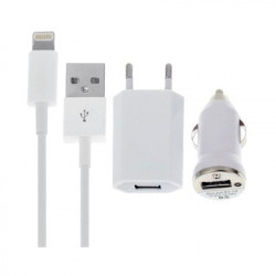 Kit 3 in 1 Charge Caricabatteria da Parete da Auto 1A Cavo iPhone 5/6/s
