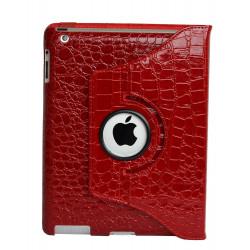 Leggio/Stand/Custodia CROCODILE Apple iPad 2/3/4 -PU Rotazione a 360° RED