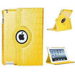 Leggio/Stand/Custodia CROCODILE Apple iPad 2/3/4 -PU Rotazione a 360° GIALLO