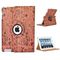 Leggio/Stand/Custodia FANTASY Apple iPad 2/3/4 -PU Rotazione a 360° BROWN